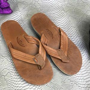 Rainbow tan thick strap sandals